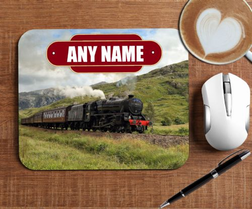 Personalised Steam Train Mouse Pad PC Computer Mat - Any Text N9